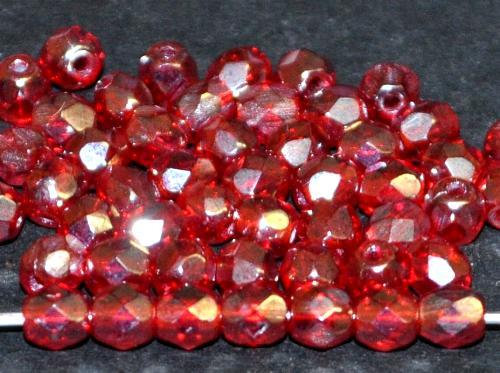 Best.Nr.:23023 facettierte Glasperlen rot transp. mit lüster, hergestellt in Gablonz / Tschechien