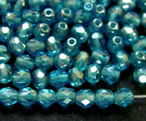 Best.Nr.:23064 facettierte Glasperlen türkis mit lüster finish, hergestellt in Gablonz / Tschechien