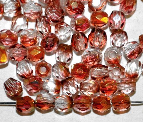Best.Nr.:28074 facettierte Glasperlen   kristall fuchsia bronziert, hergestellt in Gablonz / Tschechien