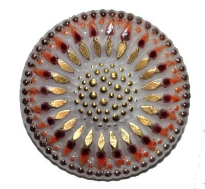 Best.Nr.:43120 Glasknopf antik, handbemalt In Gablonz / Böhmen hergestellt.