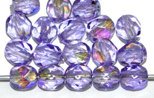 Best.Nr.:24037 facettierte Glasperlen mit AB und Wachsüberzug in blauviolett, hergestellt in Gablonz / Tschechien