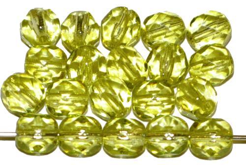 Best.Nr.:24069 facettierte Glasperlen mit Wachsüberzug gelb, hergestellt in Gablonz / Tschechien