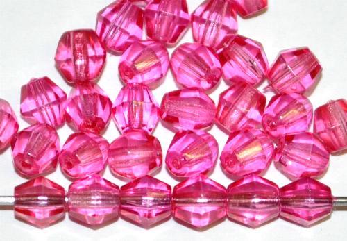 Best.Nr.:24076 facettierte Glasperlen bicon mit Wachsüberzug fucsia, hergestellt in Gablonz / Tschechien