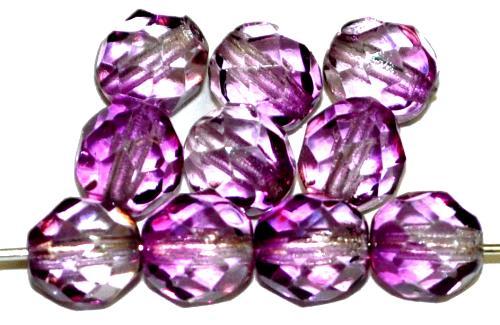 Best.Nr.:24077 facettierte Glasperlen Wachsüberzug violett, hergestellt in Gablonz / Tschechien