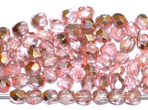 Best.Nr.:24080 facettierte Glasperlen mit Silber Veredelung und Wachsüberzug altrosa, hergestellt in Gablonz / Tschechien
