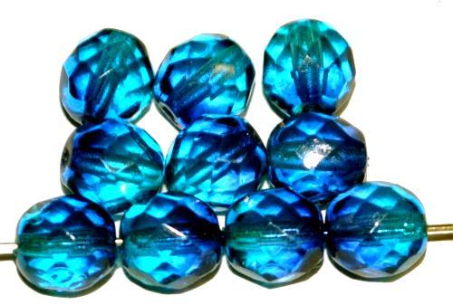 Best.Nr.:24094 facettierte Glasperlen mit zweifarbig blauem  Wachsüberzug, hergestellt in Gablonz / Tschechien