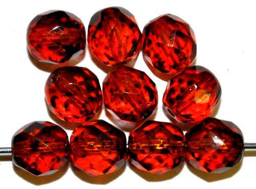 Best.Nr.:24095 facettierte Glasperlen  Wachsüberzug rotbraun gesprenkelt, hergestellt in Gablonz / Tschechien