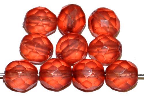 Best.Nr.:24129 facettierte Glasperlen Wachsüberzug rose mattiert, hergestellt in Gablonz / Tschechien