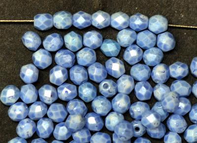 Best.Nr.:24133 facettierte Glasperlen mit Wachsüberzug blau