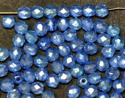 Best.Nr.:24134 facettierte Glasperlen mit Wachsüberzug blau