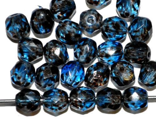 Best.Nr.:24168 facettierte Glasperlen  mit Wachsüberzug montanablau gesprenkelt,  hergestellt in Gablonz / Tschechien