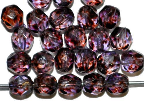 Best.Nr.:24169 facettierte Glasperlen  mit Wachsüberzug blau violett gesprenkelt,  hergestellt in Gablonz / Tschechien