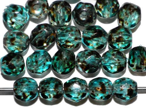 Best.Nr.:24170 facettierte Glasperlen  mit Wachsüberzug türkis gesprenkelt,  hergestellt in Gablonz / Tschechien