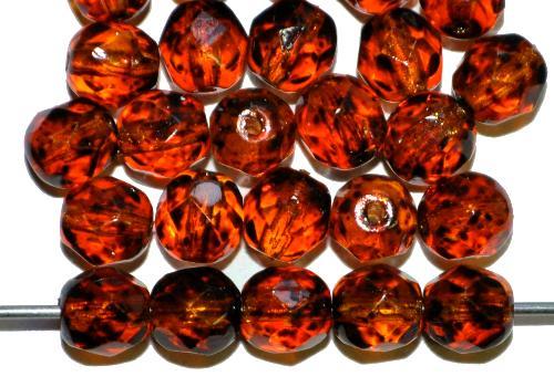Best.Nr.:24172 facettierte Glasperlen  mit Wachsüberzug topas gesprenkelt, hergestellt in Gablonz / Tschechien