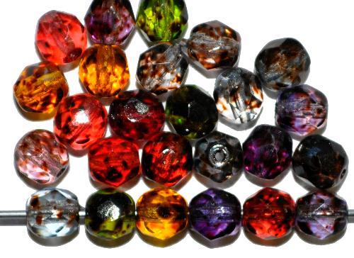 Best.Nr.:24181  facettierte Glasperlen  mit Wachsüberzug farbmix,  hergestellt in Gablonz / Tschechien