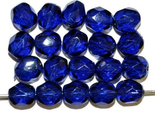 Best.Nr.:24190 facettiert Glasperlen mit Wachsüberzug blau, hergestellt in Gablonz / Tschechien