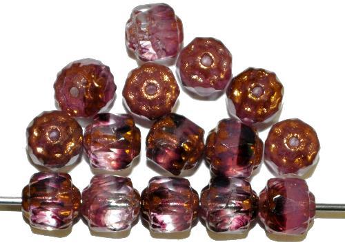 Best.Nr.:25003 facettierte Glasperlen / Barockperlen  violett mit Bronzeauflage, hergestellt in Gablonz / Tschechien