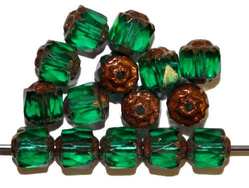 Best.Nr.:25007 facettierte Glasperlen / Barockperlen  smaragdgrün mit Bronzeauflage, hergestellt in Gablonz / Tschechien