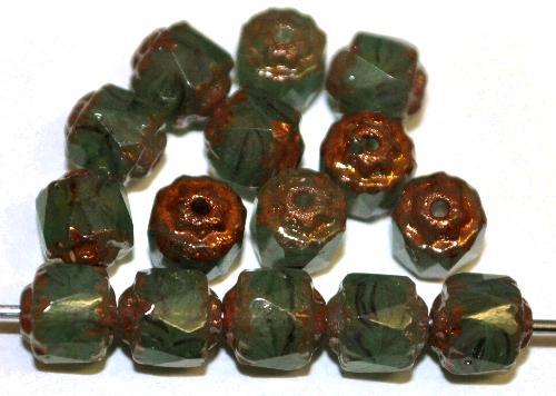 Best.Nr.:25008 facettierte Glasperlen / Barockperlen  russischgrün mit Bronzeauflage, hergestellt in Gablonz / Tschechien