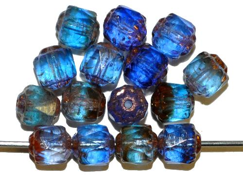 Best.Nr.:25014 facettierte Glasperlen / Barockperlen  Mix blau transp. mit Bronzeauflage, hergestellt in Gablonz / Tschechien