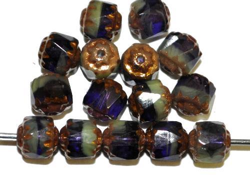 Best.Nr.:25015 facettierte Glasperlen / Barockperlen  violett grün mit Bronzeauflage, hergestellt in Gablonz / Tschechien