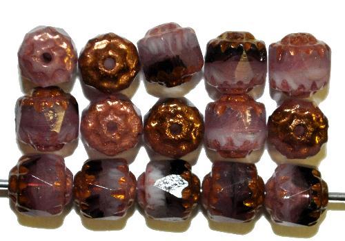 Best.Nr.:25017 facettierte Glasperlen / Barockperlen  violett mit Bronzeauflage, hergestellt in Gablonz / Tschechien