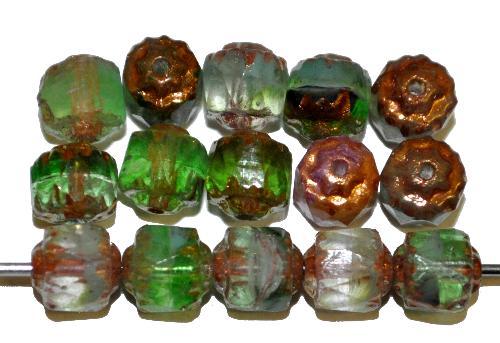 Best.Nr.:25019 facettierte Glasperlen / Barockperlen  mit Bronzeauflage, hergestellt in Gablonz / Tschechien