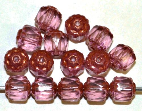 Best.Nr.:25021 facettierte Glasperlen / Barockperlen  violett mit Bronzeauflage, hergestellt in Gablonz / Tschechien