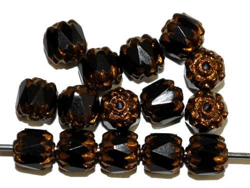 Best.Nr.:25037 facettierte Glasperlen / Barockperlen  schwarz mit Bronzeauflage,  hergestellt in Gablonz / Tschechien