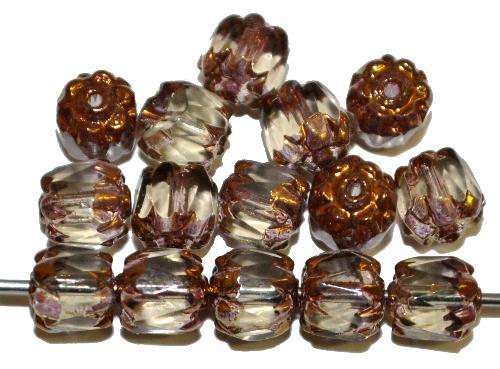 Best.Nr.:25041 facettierte Glasperlen / Barockperlen  black diamond mit Bronzeauflage,  hergestellt in Gablonz / Tschechien