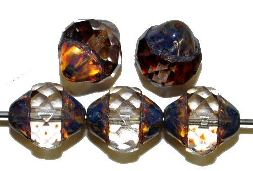 Best.Nr.:25053  facettierte Glasperlen mit facettiertem Band kristall mit picasso finish,  hergestellt in Gablonz / Tschechien