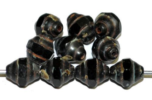Best.Nr.:25060 facettierte Glasperlen / Barockperlen schwarz mit picasso finish, hergestellt in Gablonz / Tschechie