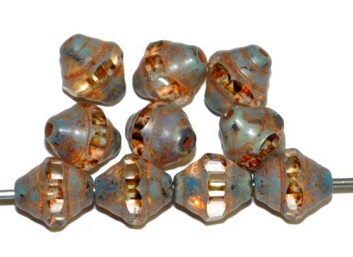 Best.Nr.:25062 facettierte Glasperlen / Barockperlen kristall mit picasso finish, hergestellt in Gablonz / Tschechie