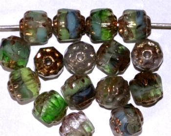 Best.Nr.:25065 facettierte Glasperlen / Barockperlen mit Bronzeauflage