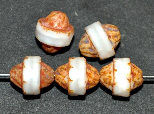 Best.Nr.:25079 Glasperlen mit facettiertem Band  alabaster weiß und picasso finish,  hergestellt in Gablonz / Tschechie