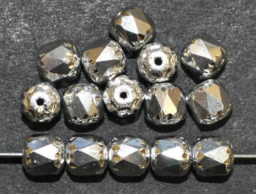 Best.Nr.:25086 facettierte Glasperlen / Barockperlen  Silberfarben,  hergestellt in Gablonz / Tschechien