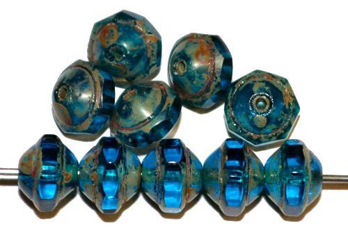 Best.Nr.:25094 Glasperlen montanablau  mit geschliffenem Band  und picasso finish,  hergestellt in Gablonz / Tschechien