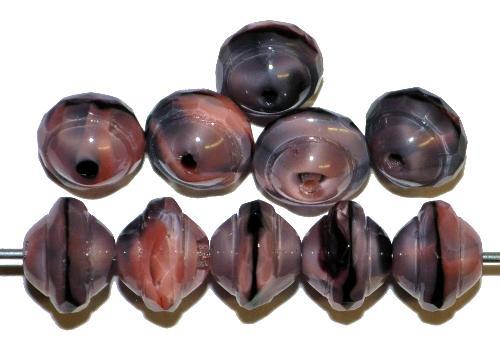 Best.Nr.:25095  Glasperlen violett schwarz mit facettiertem Band,  hergestellt in Gablonz / Tschechien