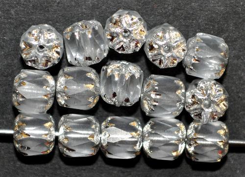 Best.Nr.:25113 facettierte Glasperlen / Barockperlen  kristall mattiert mit Silberauflage,  hergestellt in Gablonz / Tschechien
