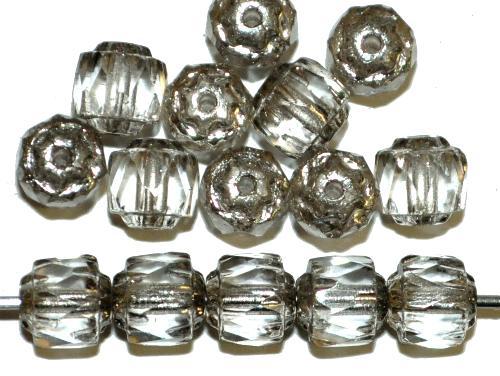 Best.Nr.:25120  facettierte Glasperlen / Barockperlen  light smoke kristall mit antiksilver finish,  hergestellt in Gablonz / Tschechien