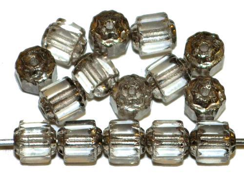 Best.Nr.:25121  Glasperlen mit Längaschliff / Barockperlen  light smoke kristall mit antiksilver finish,  hergestellt in Gablonz / Tschechien