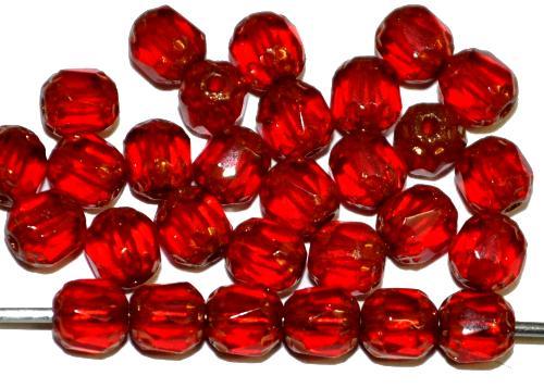 Best.Nr.:25128 facettierte Glasperlen / Barockperlen  rot transp. mit Bronze finish, hergestellt in Gablonz / Tschechien