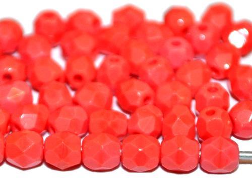 Best.Nr.:26024 facettierte Glasperlen lachsrot opak, hergestellt in Gablonz Tschechien
