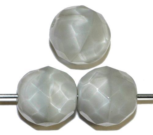 Best.Nr.:26039 facettierte Glasperlen,  Perlettglas hellgrau,  hergestellt in Gablonz / Tschechien