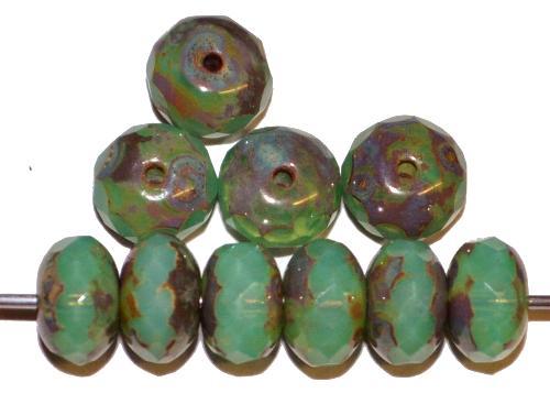 Best.Nr.:26044 Glasperlen Linse mit facettiertem Rand  Opalglas türkis mit picasso finish  hergestellt in Gablonz / Tschechien