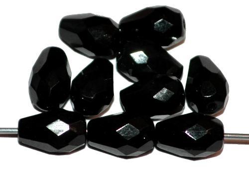 Best.Nr.:26054 facettierte Glasperlen Tropfen  schwarz, hergestellt in Gablonz / Tschechien