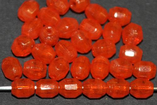 Best.Nr.:26057 geschliffene Glasperlen, orange, um 1940/50 in Gablonz/Böhmen hergestellt