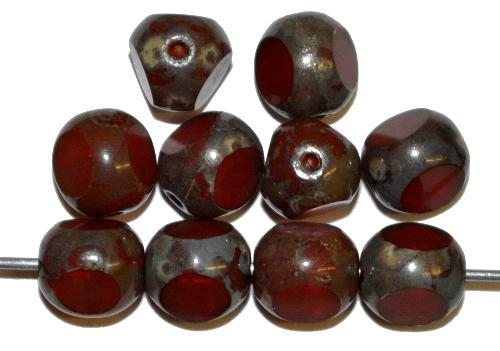 Best.Nr.:26062 Glasperlen 3 Seiten geschliffen alabaster braun mit picasso finish, hergestellt in Gablonz / Tschechien
