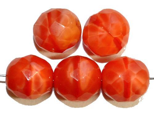 Best.Nr.:26064  facettierte Glasperlen,  Perlettglas orange,  hergestellt in Gablonz / Tschechien