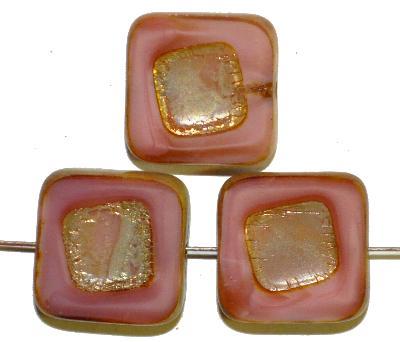 Best.Nr.:671225 Glasperlen / Table Cut Beads, Perlettglas rosa, geschliffen mit burning silver picasso finish
